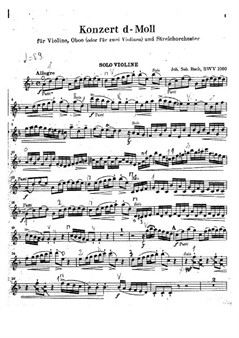 Double Concert in D minor for violin and oboe – Violin Part only