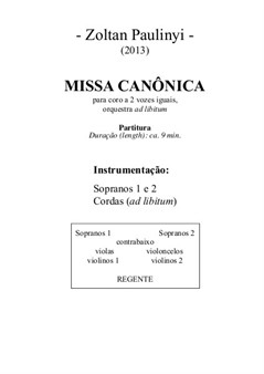 Canonic Mass for 2 equal voices in Canon with string orchestra ad libitum – Partitura