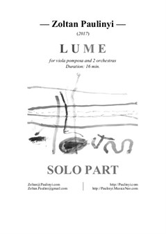 Lume for viola pomposa and 2 orchestras (solo part)