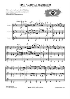 Brazilian National Anthem for 2 or 3 violins (1999, rev. 2019). Hino Nacional Brasileiro